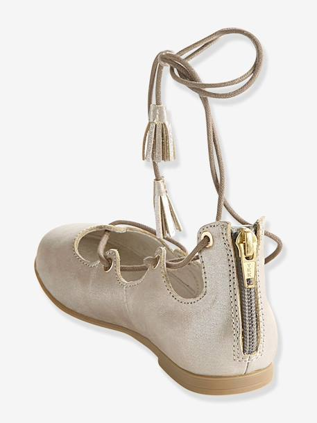 Girls Leather Ballerinas With Laces Metallic taupe - vertbaudet enfant