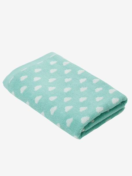 Bath Towel BLUE MEDIUM ALL OVER PRINTED+Green/cloud+Pink/polka dot - vertbaudet enfant