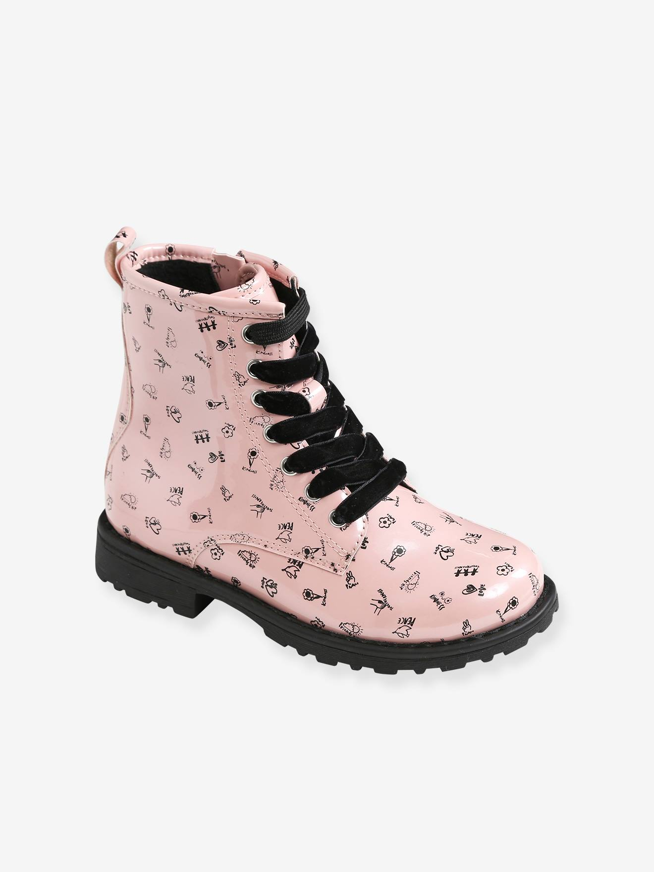 Girls' Lace-Up Ankle Boots - pink