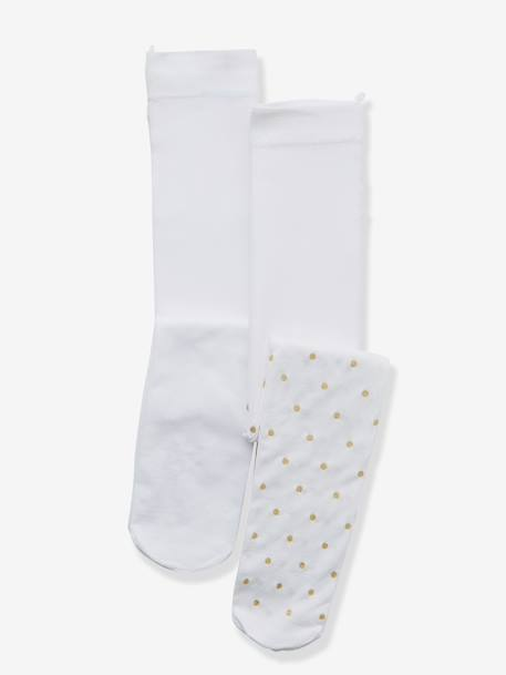 Baby Pack of 2 Tights Plain white + beige polka dot - vertbaudet enfant