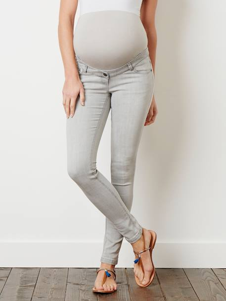 Jean slim stretch de grossesse entrejambe 85 DENIM BLACK+DENIM BRUT+DENIM GRIS CLAIR+DENIM GRIS CLAIR+Denim stone+DOUBLE STONE - vertbaudet enfant