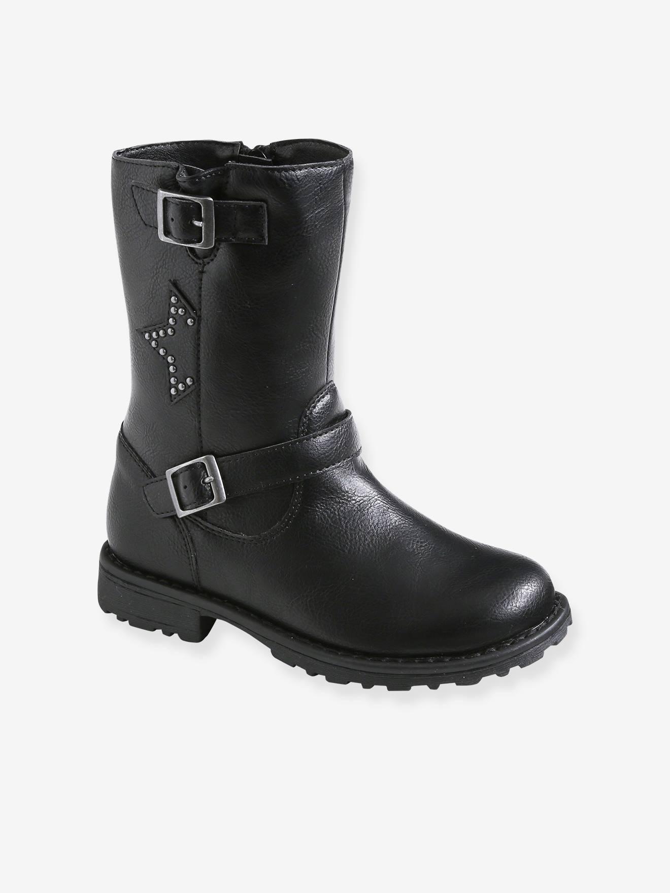 Biker-Style Boots, for Girls - black