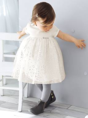 Megashop-Baby Girls' Silvery Tulle Dress