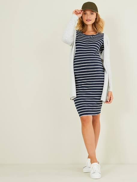 Close Fitting Maternity Dress Blue Dark Striped Maternity