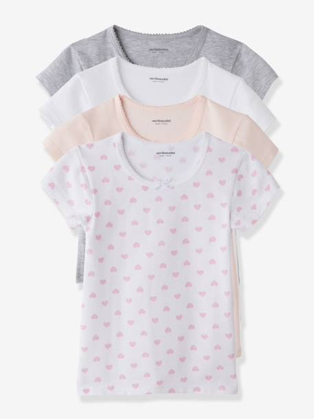 Girls' Pack of 4 Short-Sleeved T-shirts White + pink + light grey - vertbaudet enfant