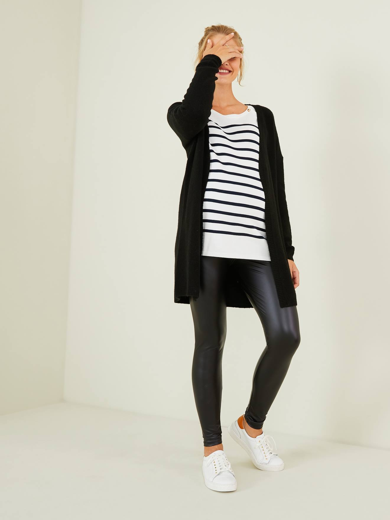 Faux Leather Leggings For Maternity Black Dark Solid Maternity
