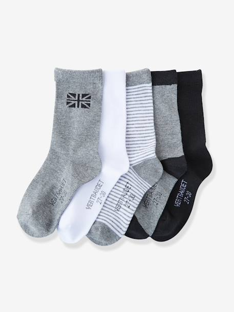Boys' Pack of 5 Pairs of Socks Dark grey pack+Greyish blue pack+RED DARK SOLID WITH DESIGN - vertbaudet enfant