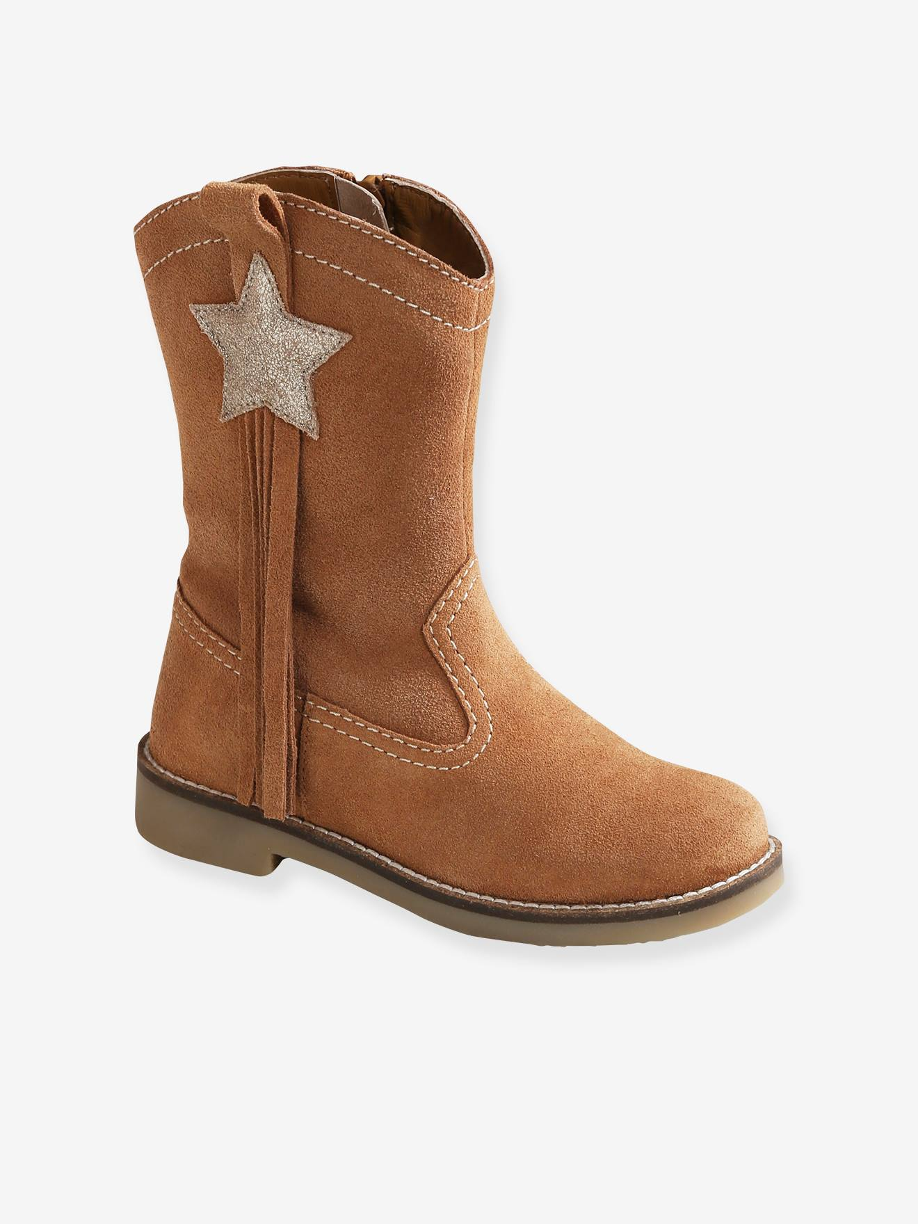 Fancy Leather Boots, for Girls - brown