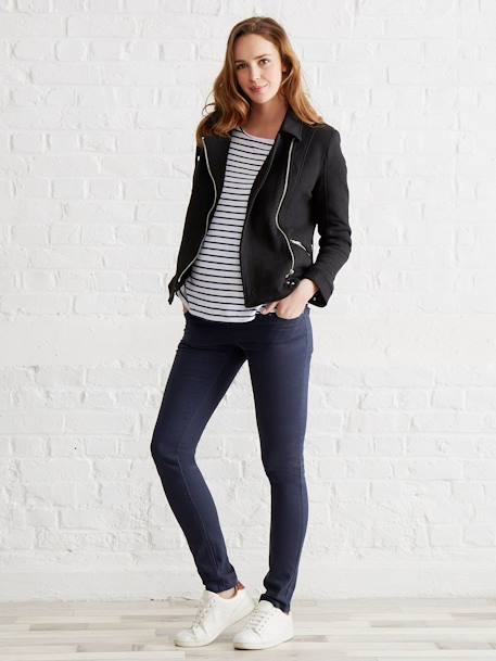 Maternity Biker-Style Jacket BLACK DARK SOLID - vertbaudet enfant