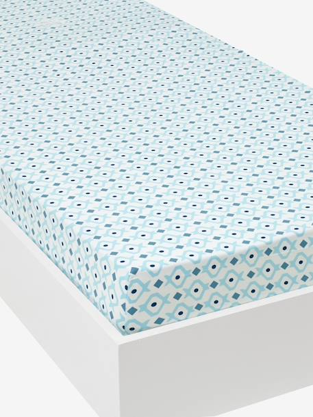 Fitted Sheet, Brooklyn Skate Theme White/blue - vertbaudet enfant