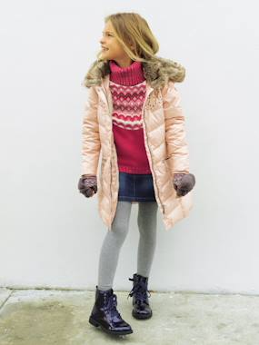 coats-Girls' Hooded Padded Jacket