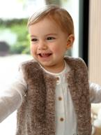 Faux Fur Waistcoat with Lining for Baby Girls  - vertbaudet enfant