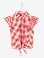 Gingham Blouse with Short Ruffled Sleeves, for Girls  - vertbaudet enfant