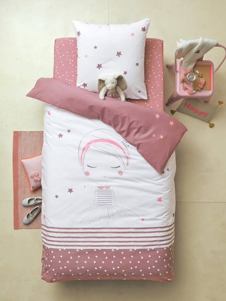 Reversible Duvet Cover & Pillowcase, Lil Dreamer Theme White/light violet - vertbaudet enfant