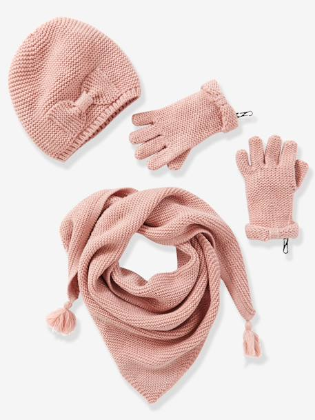 Girls' Hat, Scarf& Mittens or Gloves Set GREY MEDIUM SOLID+PINK MEDIUM SOLID+WHITE LIGHT SOLID - vertbaudet enfant