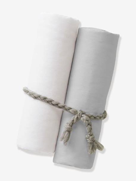 Pack of 2 Organic Collection Fitted Sheets BEIGE DARK SOLID+White - vertbaudet enfant
