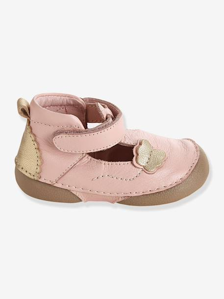 Girls Leather Sandals, Designed For Crawling Babies Pale pink - vertbaudet enfant