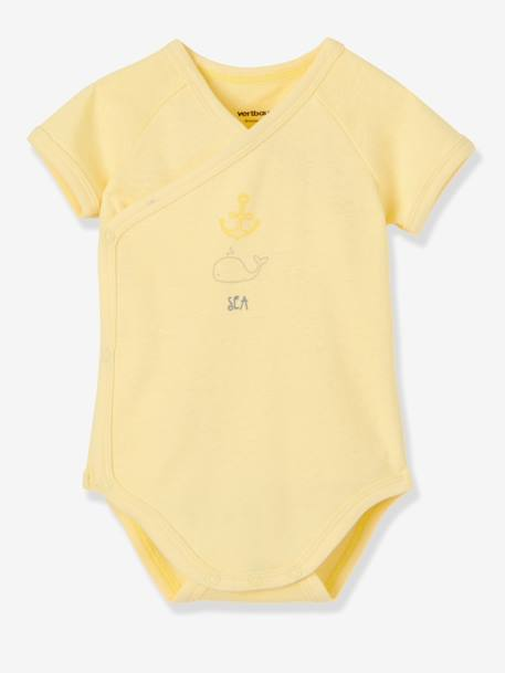 Pack of 3 Newborn Short-Sleeved Bodysuits,Yacht Motif, Organic Collection Pale pink+Pale yellow+Pearl - vertbaudet enfant