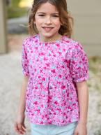 Blouse with Floral Print & Puff Sleeves for Girls  - vertbaudet enfant
