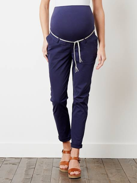 Maternity Chino Trousers, Inside Leg 32 cm Ink - vertbaudet enfant