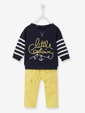 Vertbaudet Sale-Baby-Baby Boys' Fleece Sweatshirt & Twill Trousers Outfit Set