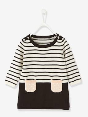 haut-Baby Striped Knitted Dress