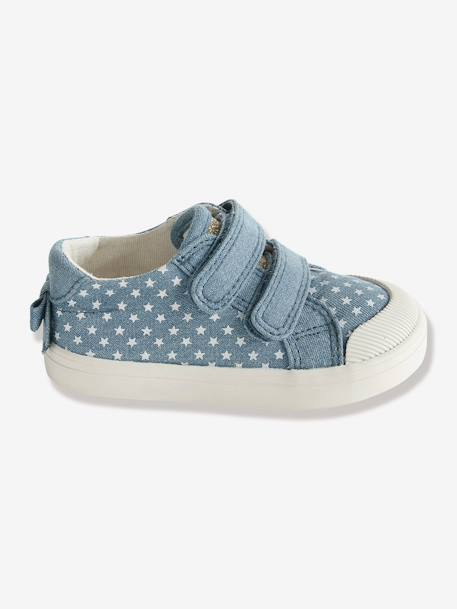 Girls Printed Canvas Trainers With Touch N Close Fastening BEIGE LIGHT METALISED+Printed chambray+WHITE LIGHT ALL OVER PRINTED - vertbaudet enfant