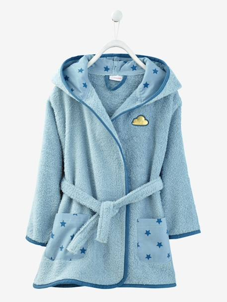 Child's Hooded Bathrobe Grey blue+Pink+White - vertbaudet enfant