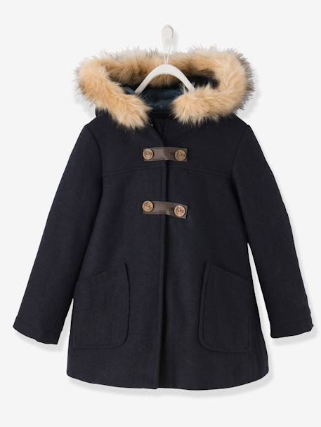 Girls' Wool Mix Coat BLUE DARK SOLID+RED MEDIUM SOLID - vertbaudet enfant
