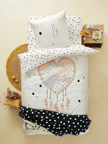 Duvet Cover & Pillowcase Set, Heart Dreamcatcher Theme Graphic print - vertbaudet enfant