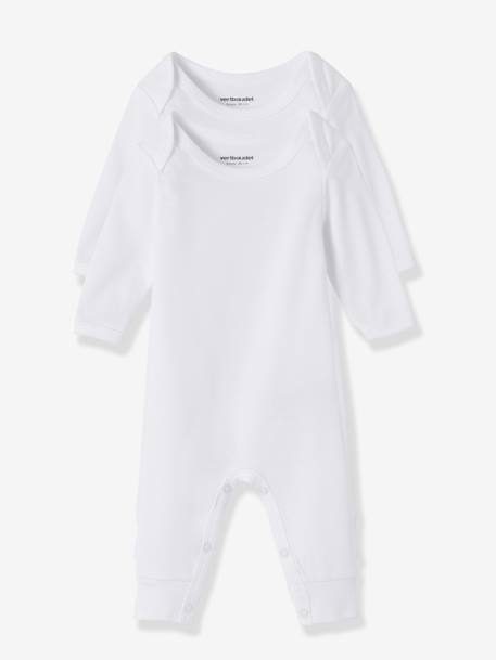 Baby Pack of 2 Long-Sleeved White Bodysuits wth Legs WHITE - vertbaudet enfant