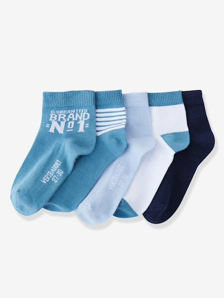 Pack of 5 Pairs of Trainer Socks Black pack+Greyish blue pack+Red pack - vertbaudet enfant