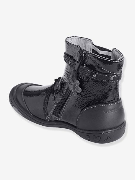 Girls' Leather Boots, Designed for Autonomy BLACK DARK SOLID - vertbaudet enfant