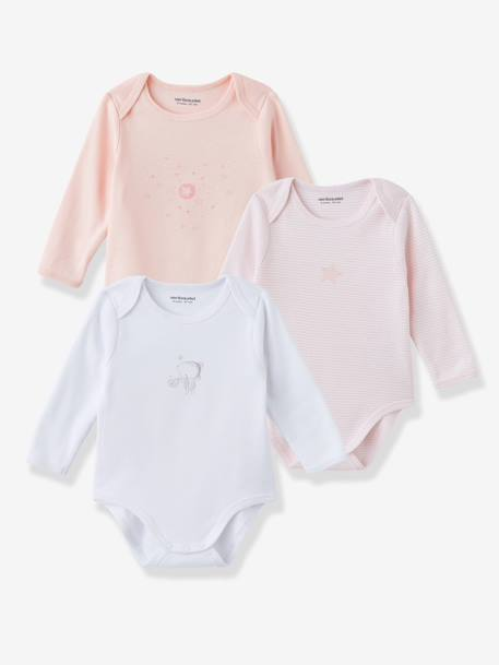 Baby Pack of 3 Coloured Pure Cotton Bodysuits with Long Sleeves Pale grey+Pale pink - vertbaudet enfant