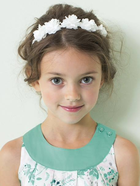 Braided Headband with Tulle Flowers White - vertbaudet enfant