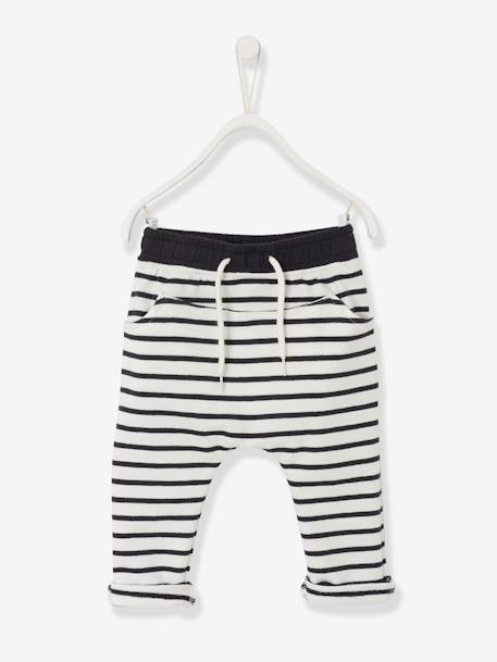 Baby Boys Fleece Trousers Ecru striped+ORANGE MEDIUM SOLID WITH DESIG+Printed light taupe - vertbaudet enfant