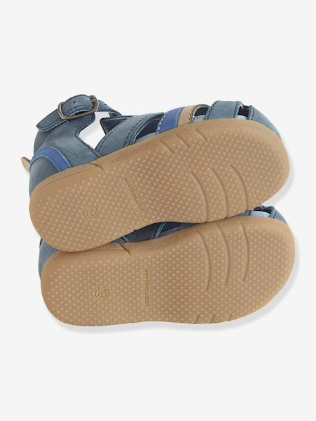 Boys Closed-Toe Sandals, Designed For First Steps BEIGE LIGHT SOLID+Dark blue - vertbaudet enfant