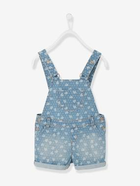 Girls-Dungarees & Playsuits-Girls Short Denim Dungarees