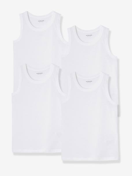 Pack of 4 Boys' Vest Tops White - vertbaudet enfant