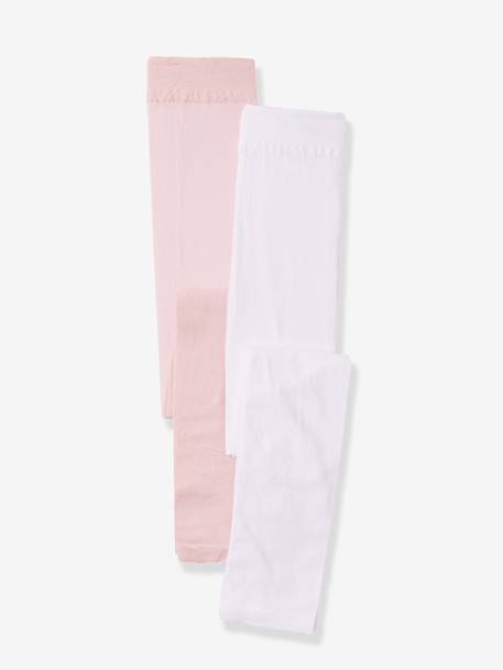 Lot de 2 leggings semi-opaques ROSE PALE + BLANC - vertbaudet enfant