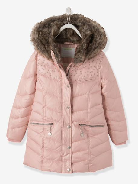 Girls' Hooded Padded Jacket PINK MEDIUM SOLID - vertbaudet enfant