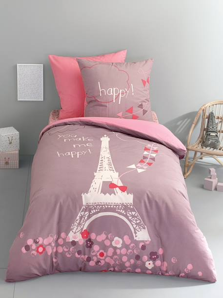 Duvet Cover & Pillowcase Set, A Night in Paris Theme Grey/pink+PURPLE MEDIUM SOLID WITH DESIG - vertbaudet enfant