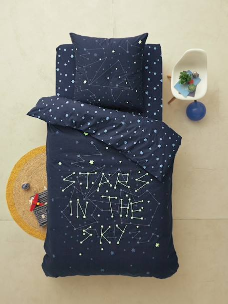 Glow-In-The-Dark Set with Duvet Cover & Pillowcase, Stars in the Sky Theme Midnight blue - vertbaudet enfant