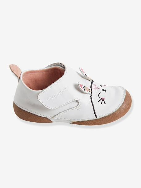 Baby Girls Non-Slip Leather Slippers with Ears White - vertbaudet enfant