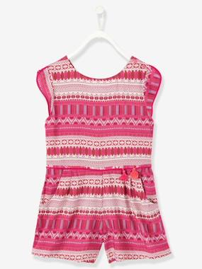 Girls-Dungarees & Playsuits-Girls Short Printed Playsuit