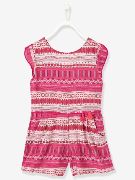 Girls Short Printed Playsuit Printed pink+WHITE LIGHT ALL OVER PRINTED - vertbaudet enfant