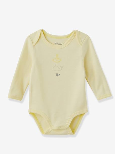 Baby Pack of 3 Coloured Long-Sleeved Bodysuits, Yacht Motif, Organic Collection Pale pink+Pale yellow+Pearl - vertbaudet enfant