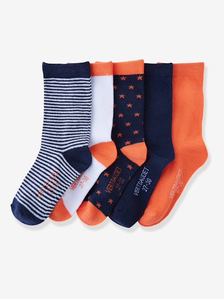 Girls' Pack of 5 Pairs of Ankle Socks BLUE LIGHT TWO COLOR/MULTICOL+Grey pack+Light pink striped pack+Navy pack - vertbaudet enfant