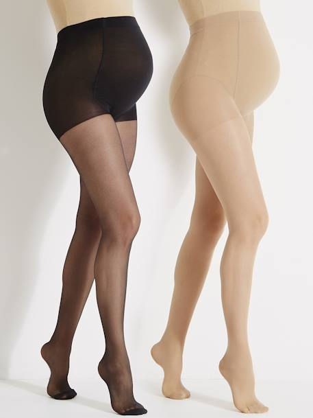 Pack of 2 Maternity Voile Tights 1 black + 1 beige+2 beige+BLACK DARK 2 COLOR/MULTICOL - vertbaudet enfant