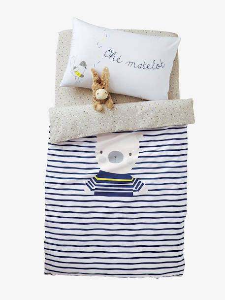 Baby Fitted Sheet, Fun Sailor Theme Grey/white - vertbaudet enfant